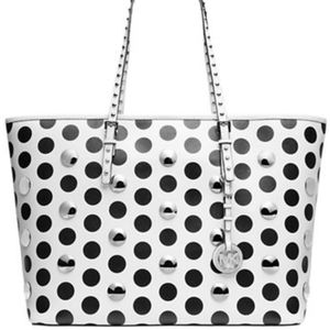 Michael Kors Black and White Polka Dot Large Tote